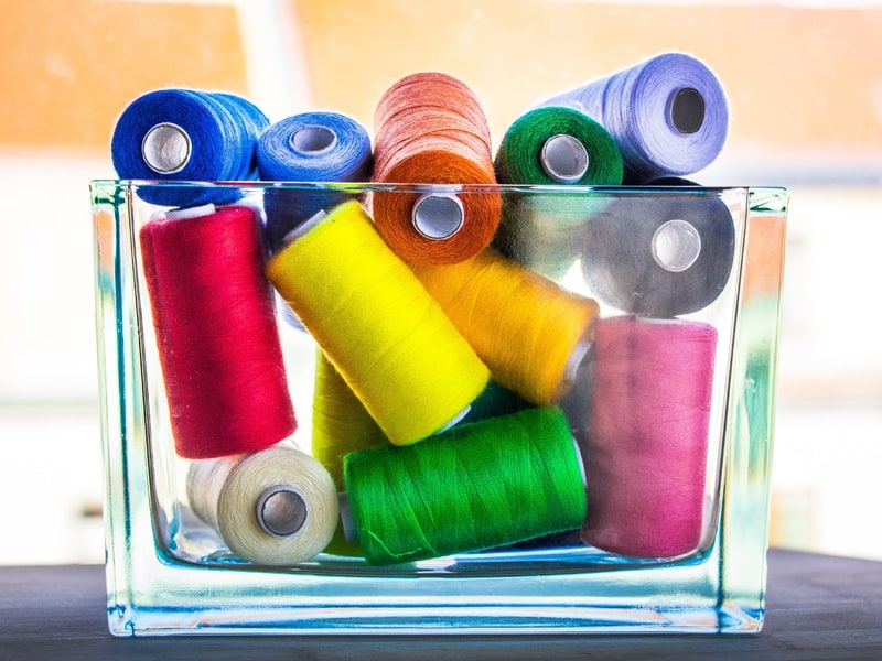 Colleciton of colorful sewing threads