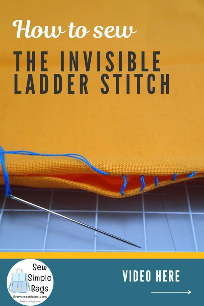 Invisible ladder stitch. Stitches left loose and extended to show the rungs on the ladder stitch.