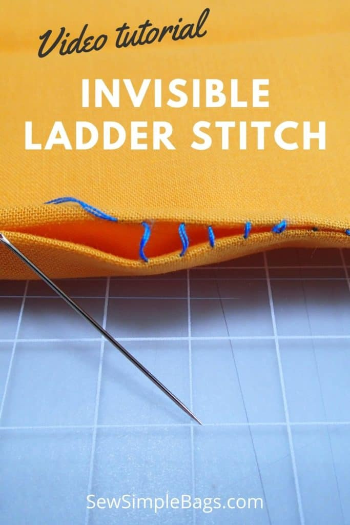 How to sew the invisible ladder stitch. Video sewing tutorial and lots of tips for how to sew the invisible ladder stitch by hand. This easy to sew stitch for beginners allows you to sew from the right side of the fabric and still get a near invisible finish so that your stitches do not show. An easy handsewing stitch for beginners, learn how to sew video tutorial included.