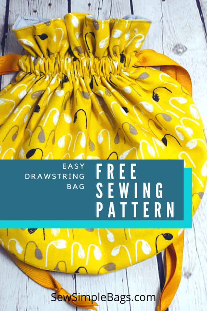 FREE sewing pattern for an easy to sew drawstring bag. The Bampton Drawstring Bag sewing pattern comes in three different sizes, small, medium and large. It has a round circle shape with ribbon or cord closure. The sewing pattern for this fun drawstring bag is free and there is also a free sew-along full video tutorial with the pattern. Easy sewing pattern for beginners.