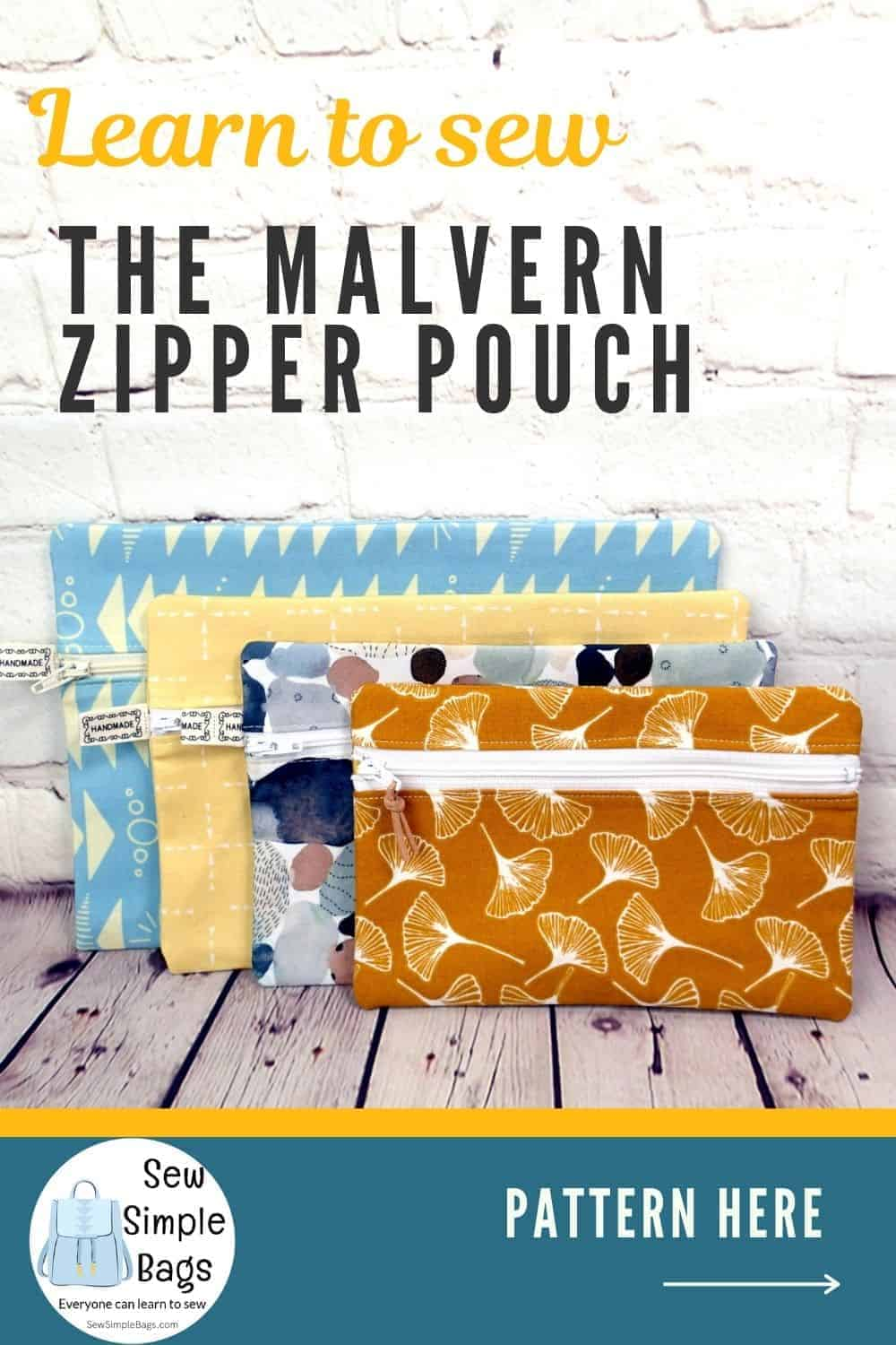 4 zipper pouches to sew, different sized zipper bags from one sewing pattern