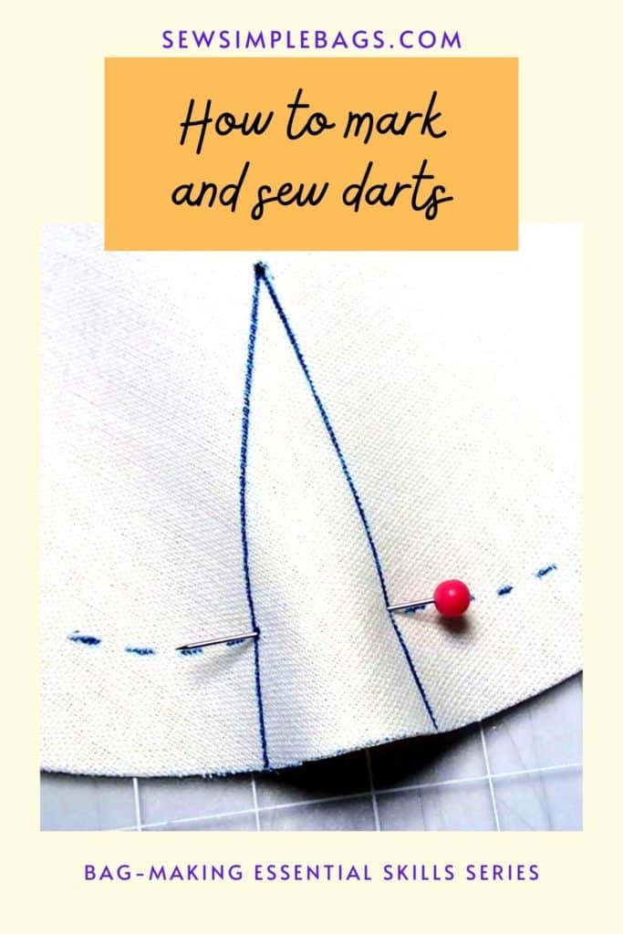 How to sew darts. A full photo step by step tutorial with close up images of how to sew darts. How to transfer dart markings to your fabric, how ti pin a dart, how to sew the dart, how to start and stop sewing at the ends of your dart, how to press a dart. Lots of tips and tricks for how to sew darts for sewing clothing and bags. Easy bag sewing tips for beginners.