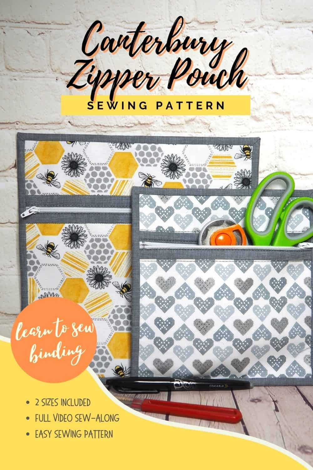Two zipper pouches side by side, one showing its use as storage to sew for sewing and craft supplies. The Canterbury Zipper Pouch sewing pattern with video tutorial.