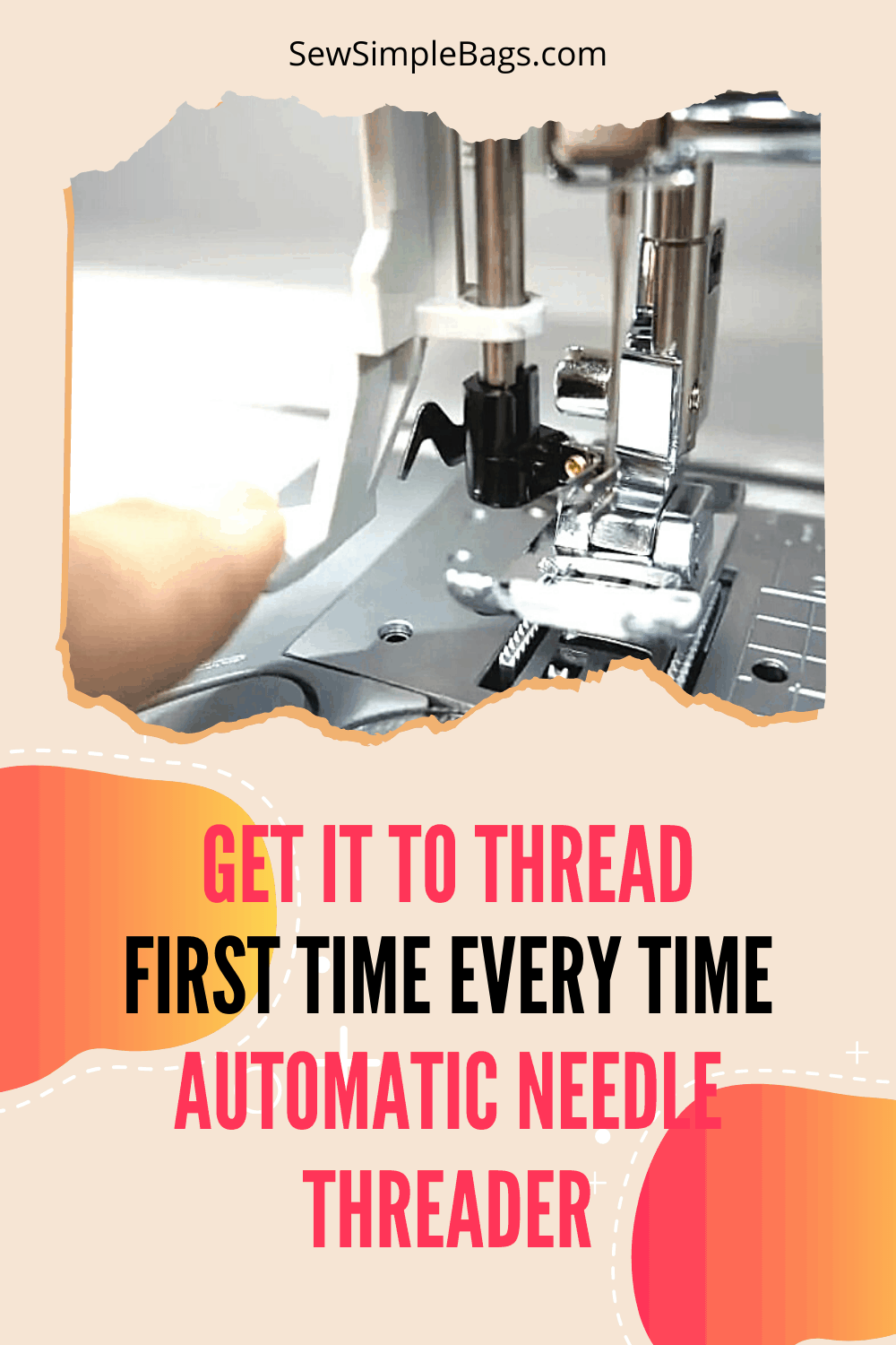 to use the automatic needle threader and get it to thread your sewing machine first time, every time. Close up image of automatic needle threader.