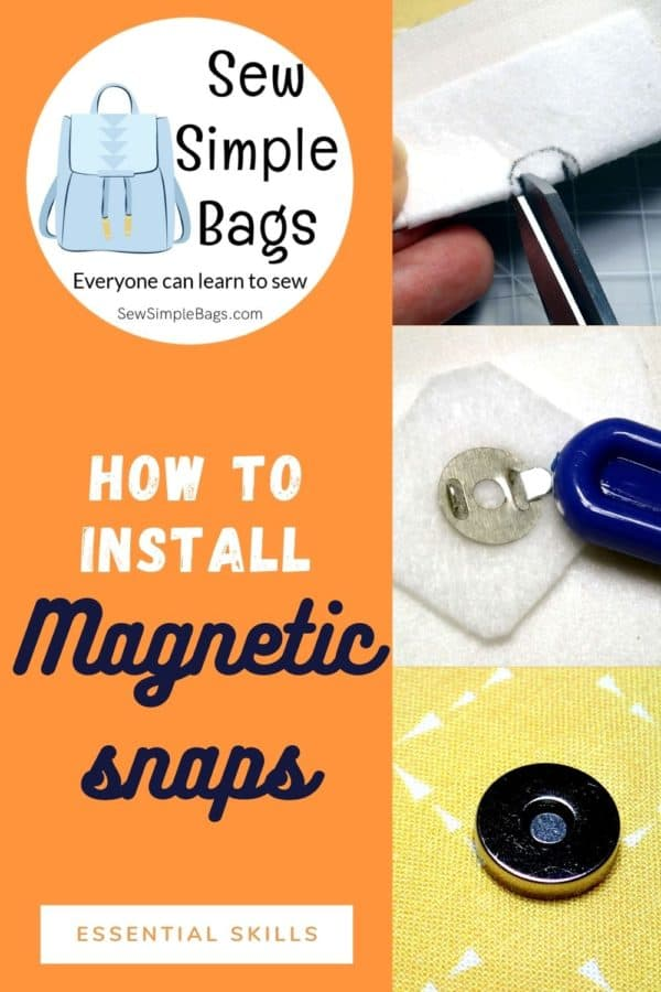 """How to install a magnetic snap. Easy to follow step by step sewing tutorial with photos for sewing beginners. Easy and essential bag making skills series shows how to get the perfect result when installing a magnetic snap or button into a bag or purse project. Tips for getting a strong result, where to buy magnetic snaps and how to identify the parts of the snap."""""""