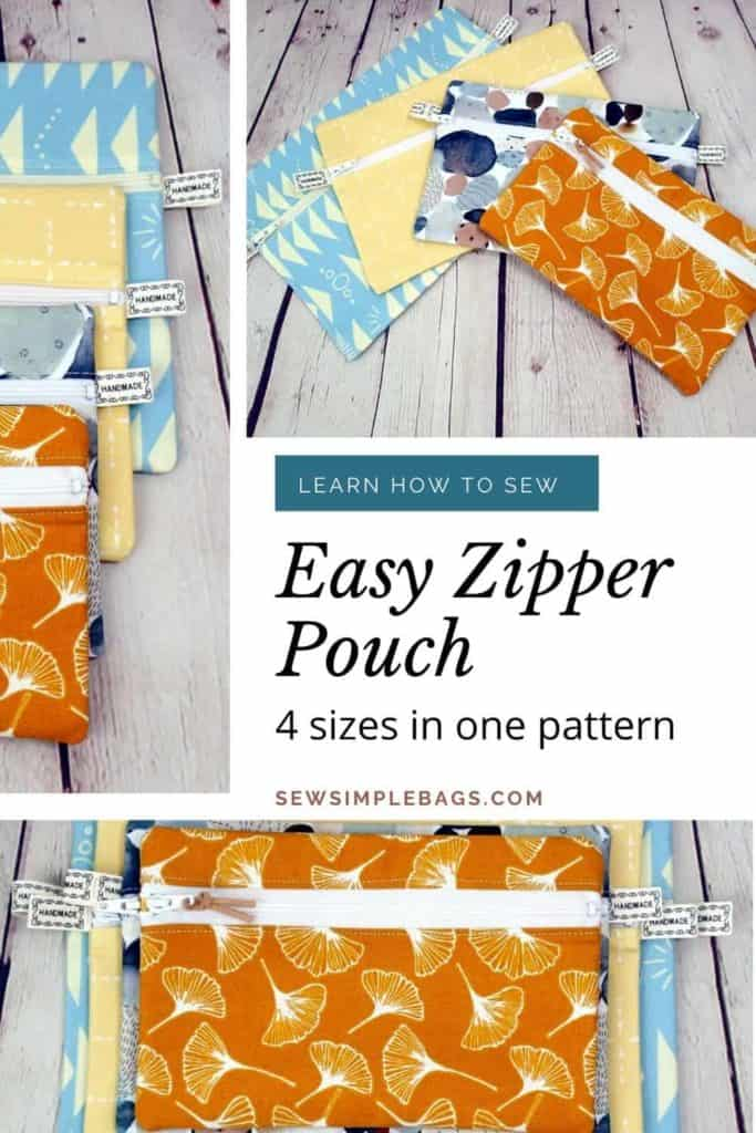 Easy to sew zipper pouch sewing pattern. This easy zipper pouch sewing pattern for beginners is the Malvern Zipper Pouch. There are 4 different sized bags in the same pattern. They are ideal to sew as a cosmetics bag, a clutch bag, a pencil case or a zipper storage bag. This beginner-friendly pattern is ideal for learning how to sew zippers. There is a step by step written pattern plus a full sewing video tutorial.