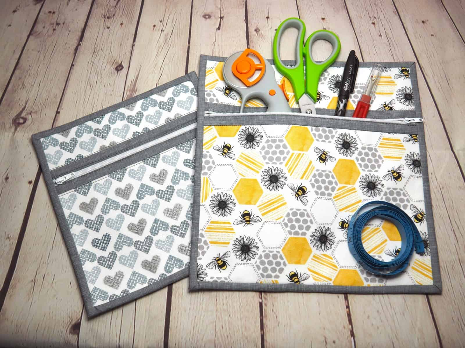 Two zipper pouches side by side. The Canterbury Zipper Pouch sewing pattern with video tutorial.