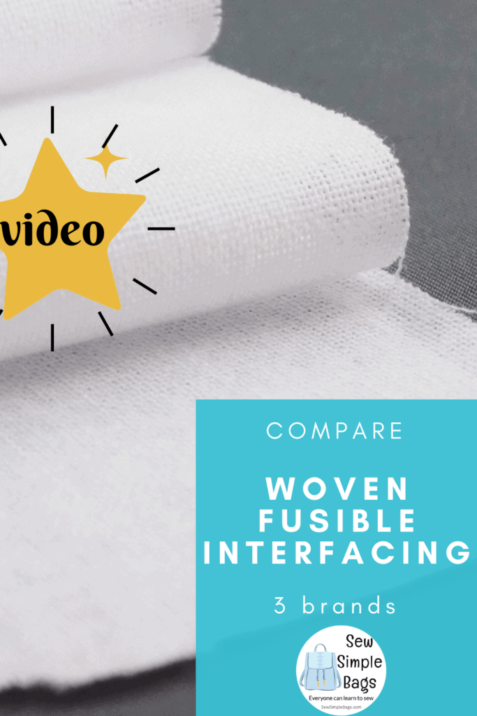 Video comparison of three different types of fusible woven interfacing. Which woven interfacing to use for bag making? I compare ShapeFlex SF101, WovenFuse 2 and Thermoweb Soft Woven Interfacing. See how these interfacing products compare side by side, how they change the fabric differently and my tips for which product might be best for which situation. Which interfacing to use for bag making. Which interfacing is best for my sewing pattern.