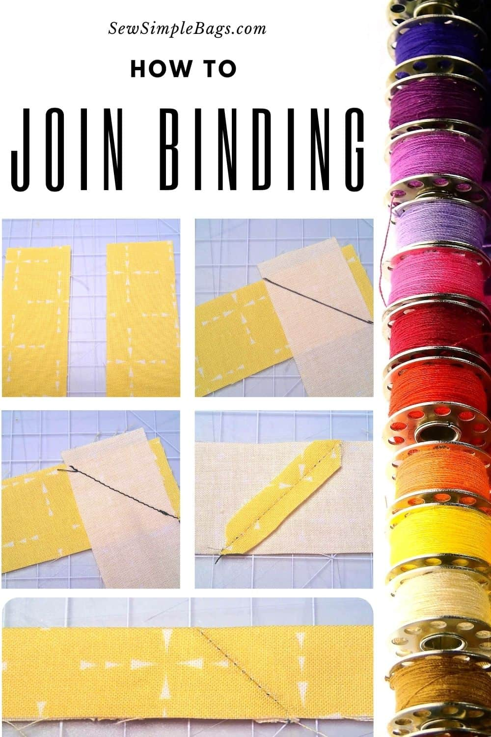 Step by step photo instructions for how to join binding with a diagonal seam to reduce bulk