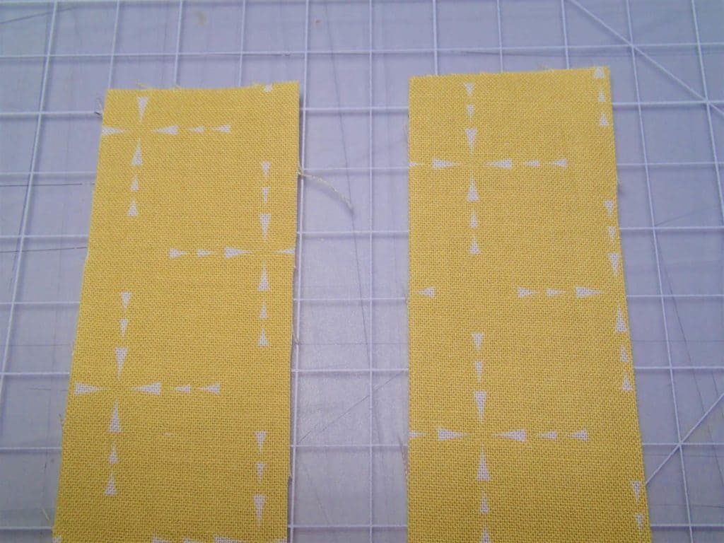 ces of straight cut binding laid side by side