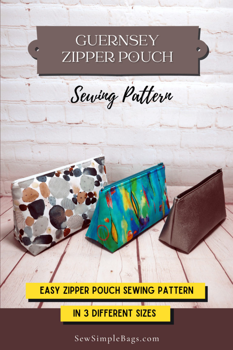 Set of 3 zipper bags to sew, easy zipper bag sewing pattern for beginners
