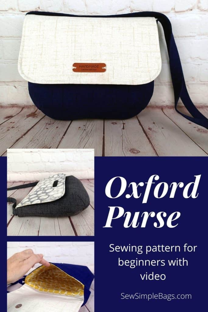 The Oxford Purse sewing pattern is an easy to sew DIY shoulder bag for beginners. This lightweight everyday bag can be worn on the shoulder, at the waist or hip, or as a crossbody bag. The easy bag sewing pattern for beginners come with step by step photo instructions and a full sewalong video tutorial that beginners will love. This purse has darts and closes with a magnetic snap. Pocket on the inside.