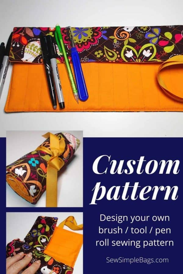 Sew your own custom sized tool roll. Design your own bag sewing pattern for a tool caddy to sew.