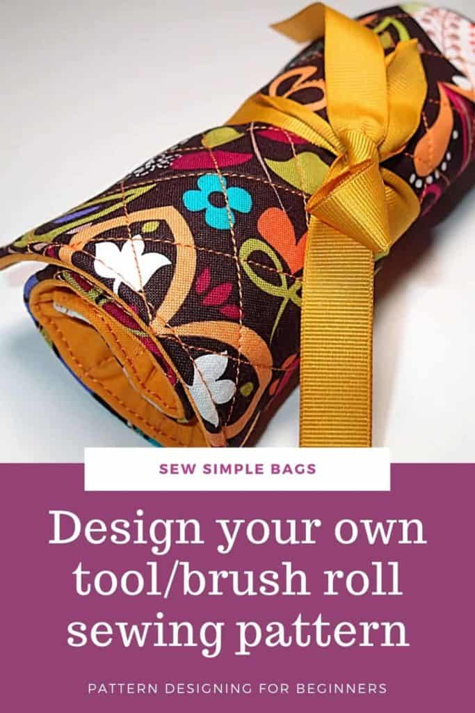 FREE sewing pattern and video tutorial for how to sew a brush roll. This handy tool caddy to sew is ideal to sew and use as a case to store crochet hooks, sewing supplies, craft supplies, pens, pencils, crayons, artist brushes, cosmetic brushes and lots more. The video tutorial shows you how to design your own custom sewing pattern so your tool caddy or brush roll sewing pattern with be perfect for you.